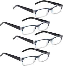 READING GLASSES 4 pack Two-color frame Readers (BlueClear, 4.00)