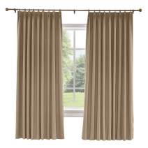 TWOPAGES 100 W x 84 L inch Pinch Pleat Darkening Drapes Faux Linen Curtains Drapery Panel for Living Room Bedroom Meetingroom Club Theater Patio Door (1 Panel),Rust Brown