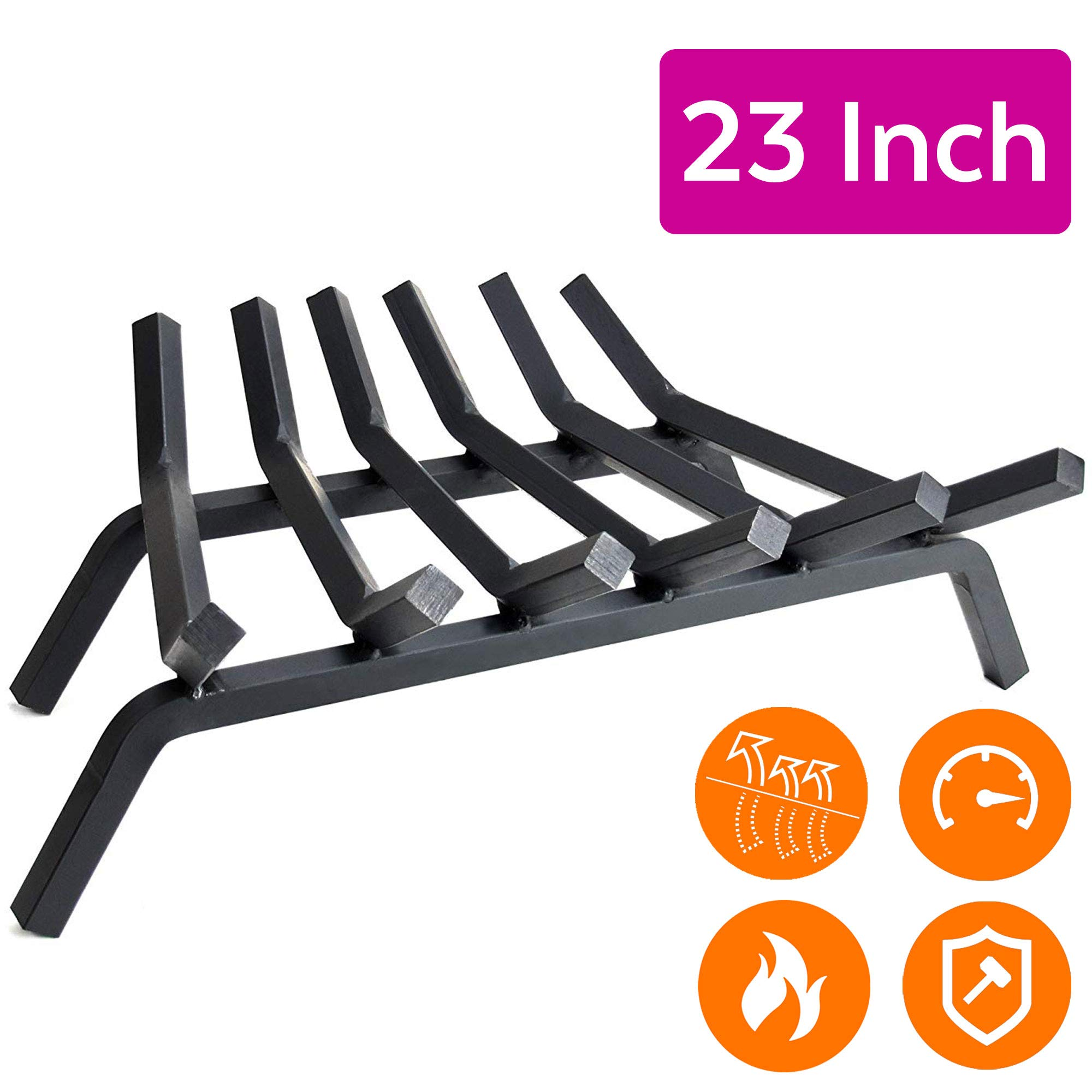 """Fireplace Log Grate 23 inch - 6 Bar Fire Grates - Heavy Duty 3/4"""" Wide Solid Steel - For Indoor Chimney Hearth Outdoor Fire Place Kindling Tool Pit Wrought Iron Wood Stove Firewood Burning Rack Holder"""