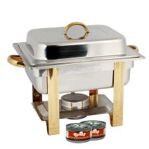 TigerChef 4 Quart Half Size Gold Accented Chafing Dish Stainless Steel Chafing Dish Buffet Set With 4 Free Chafing Fuel Gels 4 Quart Food Warmers For Parties Buffet Serving Set Catering Chafer (1 Set)