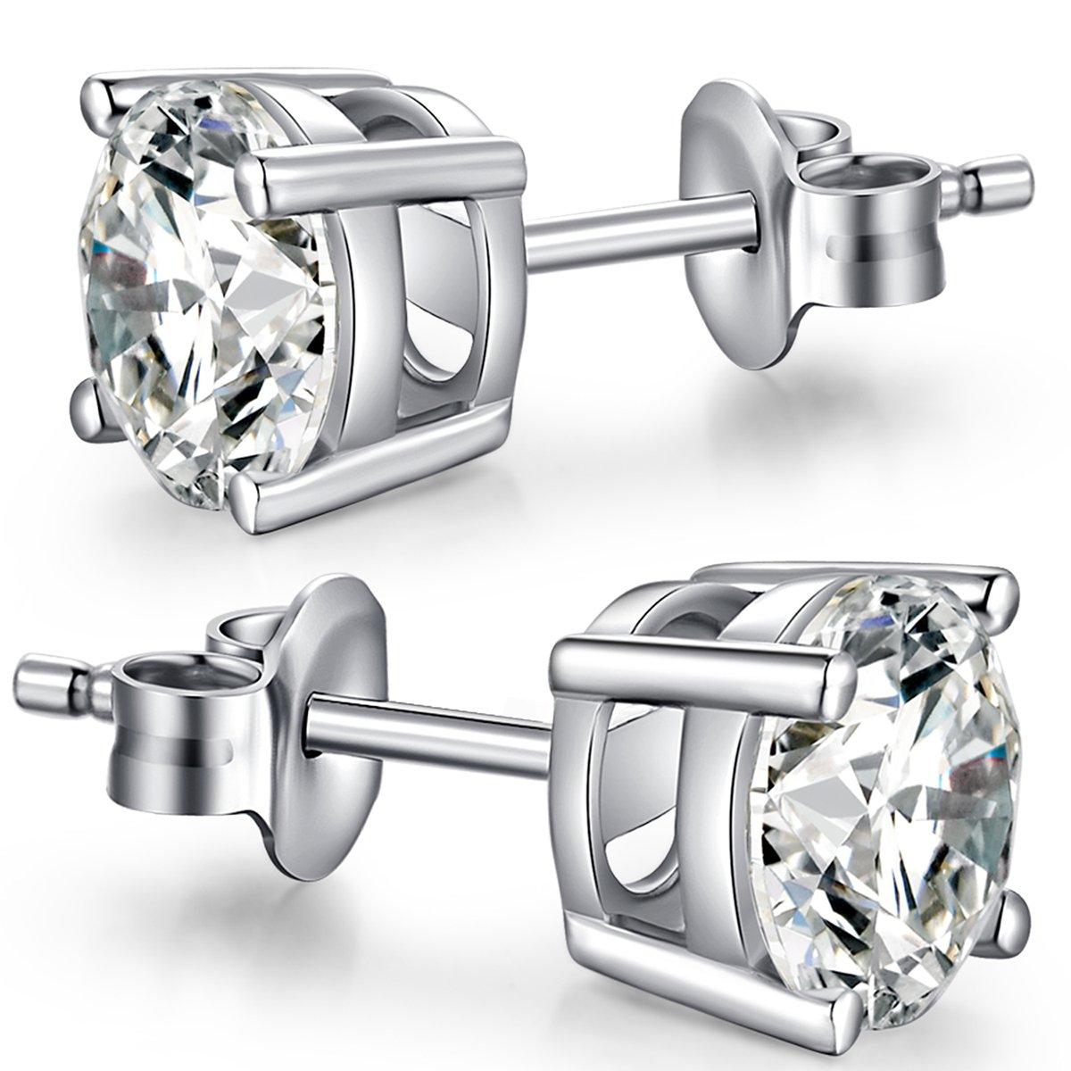 Han han Sterling Silver Stud Earrings Round Cut CZ Cubic Zirconia Diamond Stud Earrings Fashion 18K Platinum Plated Hypoallergenic Earrings for Women Men