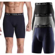 TELALEO Men's Long Compression Shorts Cool Dry Sports Tights