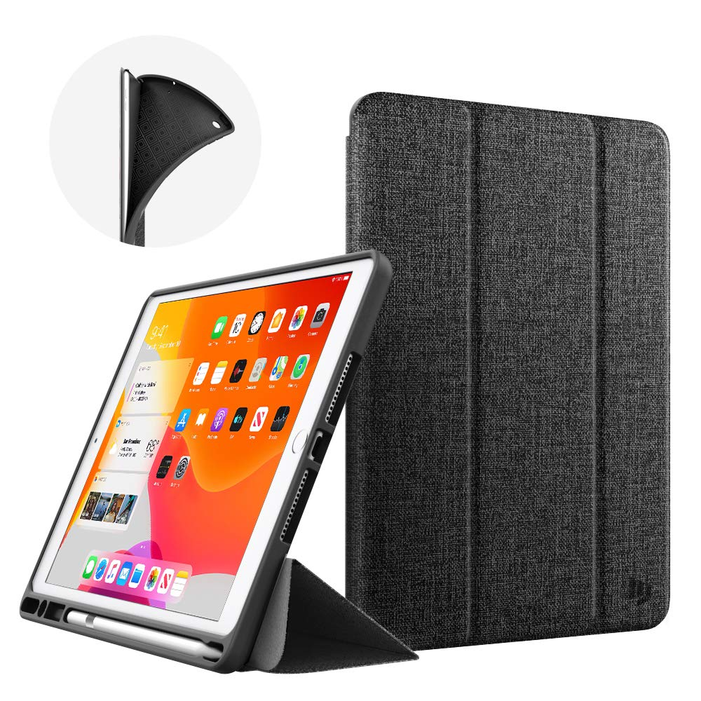 Dadanism New iPad 10.2 Case 2019, iPad 7th Generation Case with Pencil Holder (10.2 inch) - [Strong Protection] Ultra Slim Shockproof Soft TPU Back Trifold Stand Smart Cover, Auto Sleep/Wake, Black