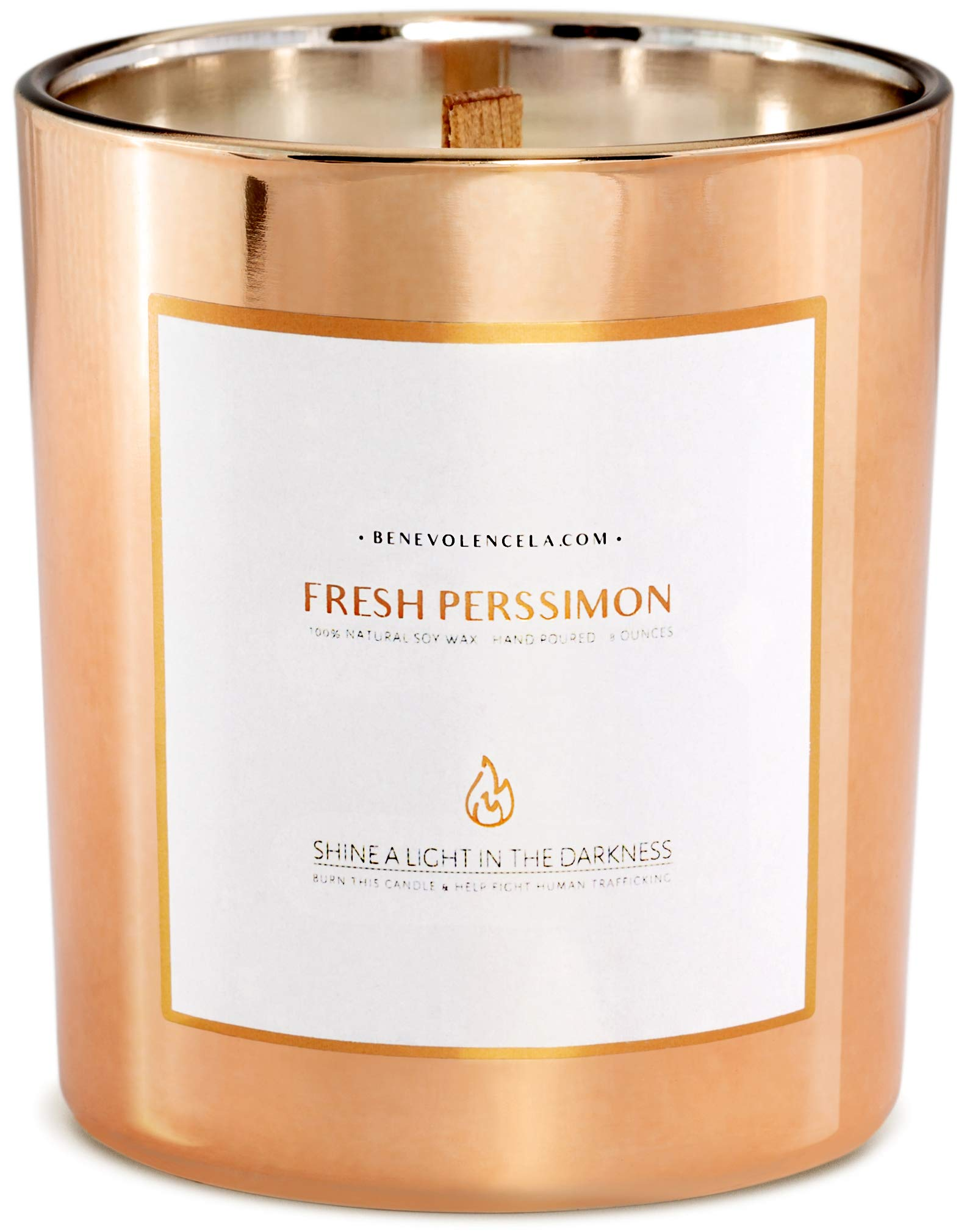 Premium Fresh Persimmon Scented Candles For Home, Sweet Scented Candle, All Natural Soy Candles Scented, 8 oz   45 Hour Long Lasting Soy Candle, Soothing Aromatherapy Candles in Rose Gold Glass Jar