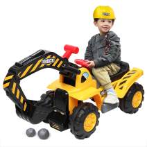 Ride On Excavator for Kids, Digger Scooper Toys, Pretend Play Construction Truck W/Safety Helmet, 2 Rocks, Horn, Realistic Sounds and Voice Control