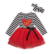 Toddler Baby Girl Dress Outfits Floral Stripe Tulle Tutu Dress with Headband Birthday Party Wedding Dress