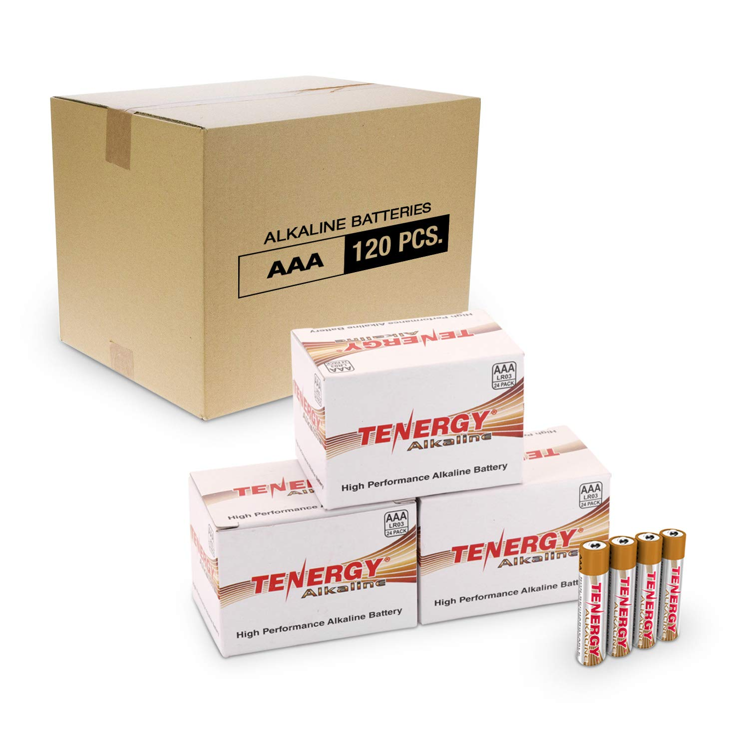 Tenergy 1.5V AAA Alkaline Battery, High Performance AAA Non-Rechargeable Batteries for Clocks, Remotes, Toys & Electronic Devices, AAA Cell Batteries, 120-Pack