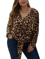 ORICSSON Women Casual Plus Size Shirts V-Neck Blouse 3/4 Sleeve Leopard Print Tops with Knotted Front Hem
