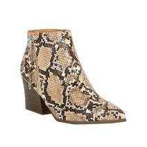 Liyuandian Chelsea Boots Pointed Toe High Block Heel Side Zipper Slim Fit Snakeskin Ankle Booties