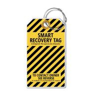 Dynotag Web Enabled Smart ID Tag, PROTAGZ Series MEGA Size Luggage Tag w. Double Steel Loops with DynoIQ & Lifetime Recovery Service (Bumblebee)