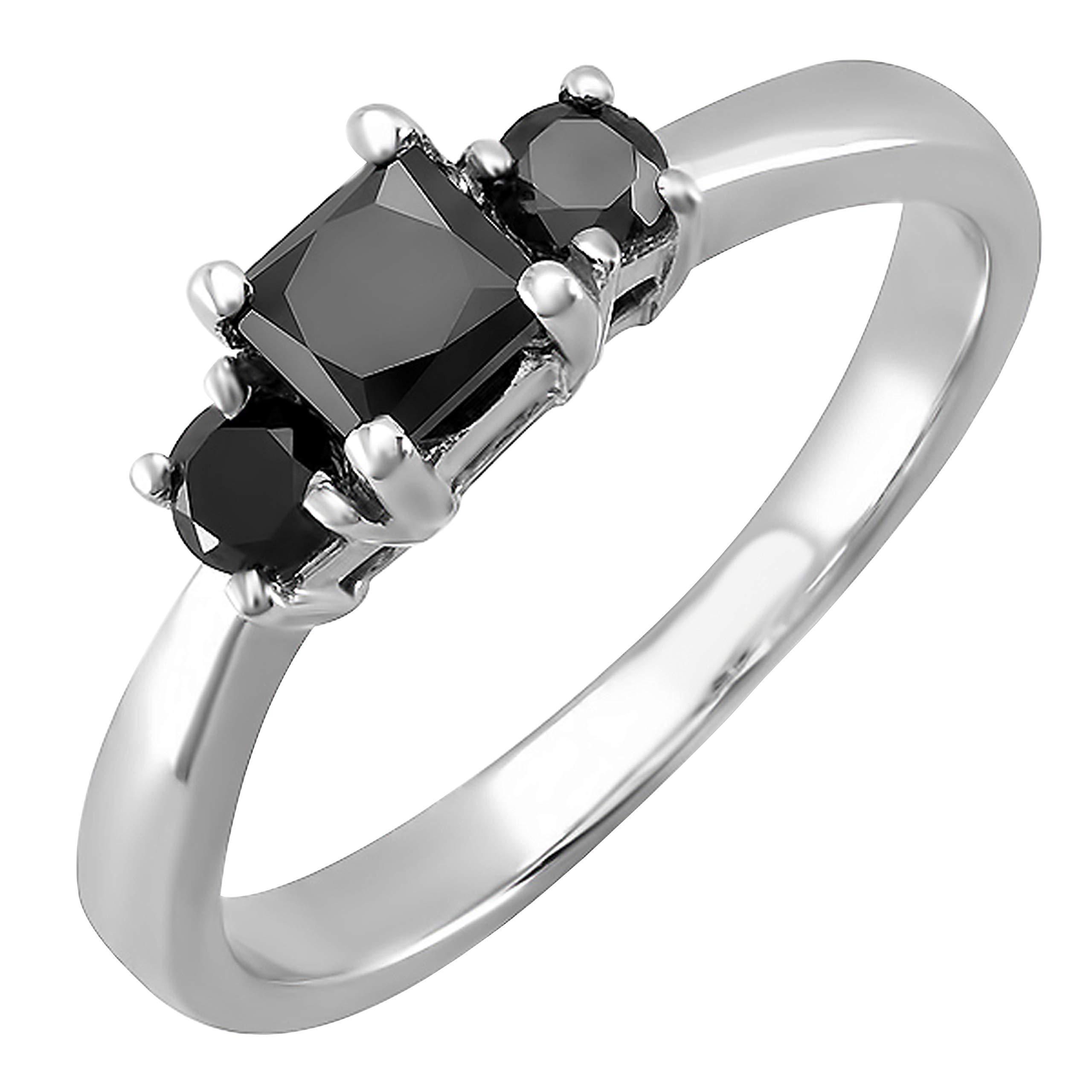 Dazzlingrock Collection 0.75 Carat (ctw) 14K Princess & Round Black Diamond Ladies 3 Stone Engagement Ring 3/4 CT, White Gold