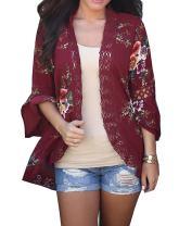 Basic Faith Women's S 3XL Floral Print Kimono Tops Cover Up Cardigans