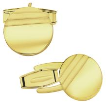 Men's Sterling Silver .925 Round Circle Cufflinks with Striped Satin Finish, Engravable,14mm. Made in Italy Available in Silver, Yellow Gold Plated Silver & Rose Gold Plated Silver.