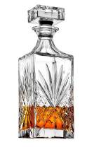 James Scott Crystal Decanter for Whiskey, Liquor and Bourbon - 25 Oz. Lead Free | Irish Cut design | Gift Box