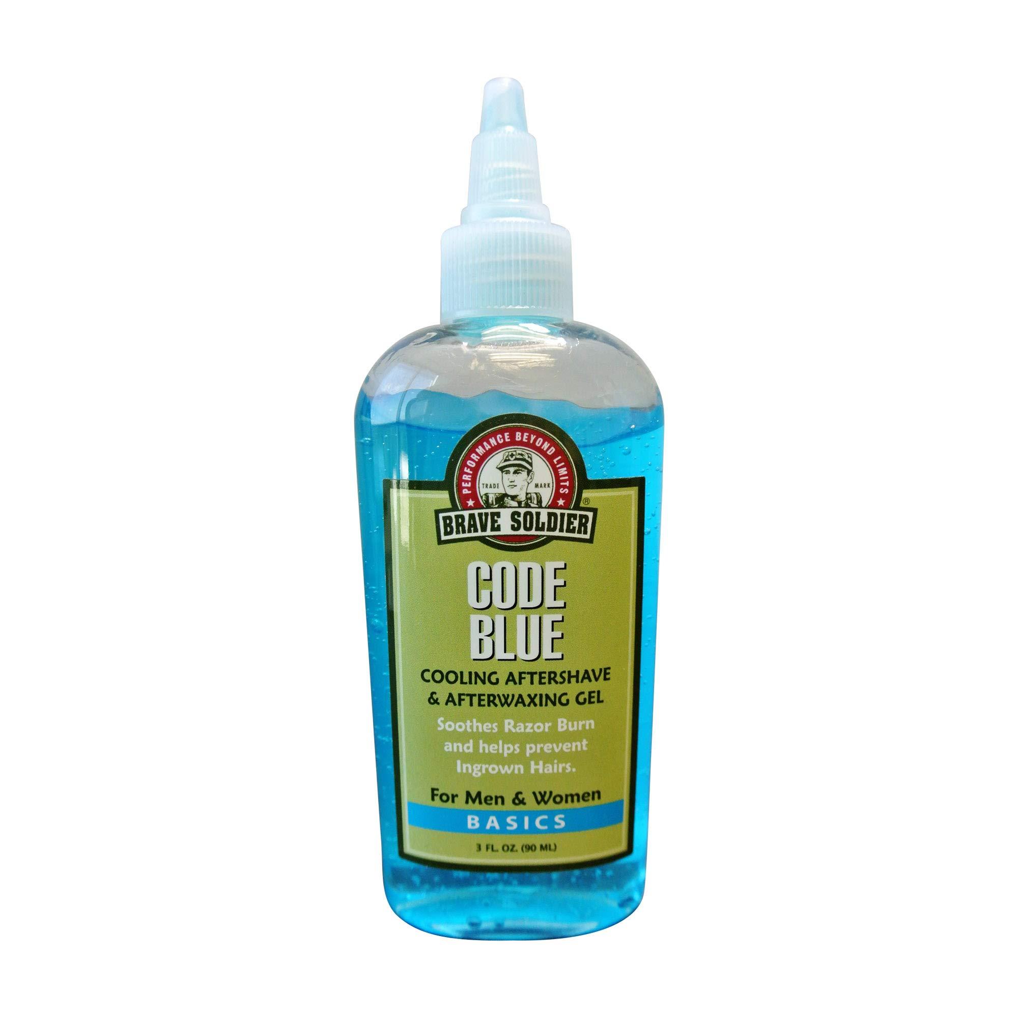 Brave Soldier Code Blue Aftershave for Men and Women - 3.4 fl. oz. - Cooling & Soothing Gel, Neck Burn Treatment, Sun Burn & Rash Relief