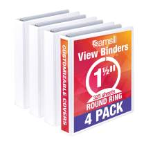 Samsill Economy 3 Ring Binder Organizer, 1.5 Inch Round Ring Binder, Customizable Clear View Cover, White Bulk Binder 4 Pack, MP48557