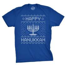Crazy Dog T-Shirts Mens Happy Hanukkah Tshirt Funny Jewish Christmas Menorah Tee for Guys