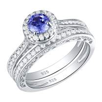 SHELOVES Wedding Ring for Women White Cz Round Blue Tanzanite Bridal Set 925 Sterling Silver Sz 5-10