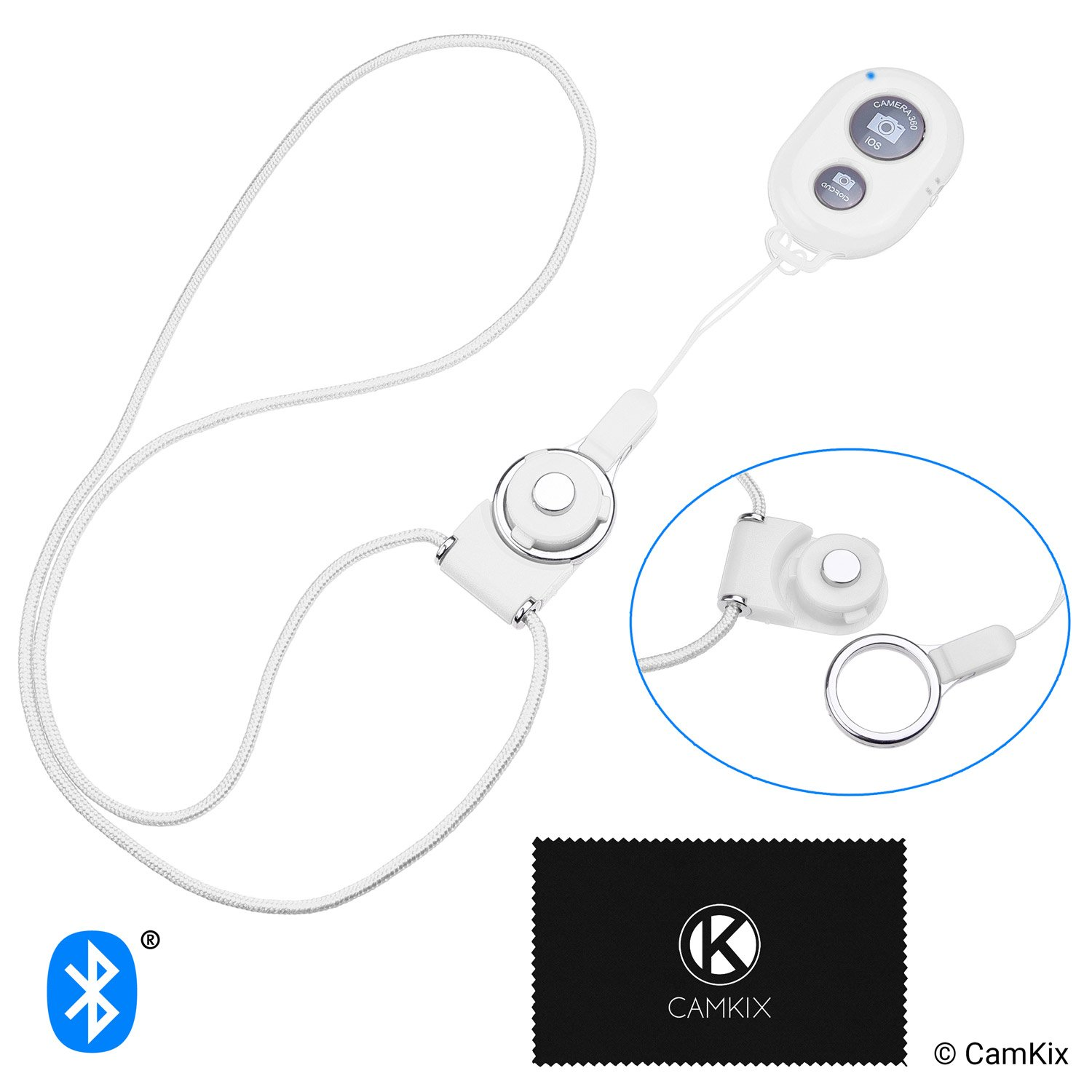 CamKix Camera Shutter Remote Control with Bluetooth Wireless Technology - White - Lanyard with Detachable Ring Mount - Capture Pictures/Video Wirelessly at 30 ft Compatible with iPhone/Android