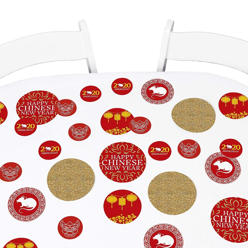 Big Dot of Happiness Chinese New Year - 2020 Year of the Rat Party Giant Circle Confetti - New Year Party Decorations - Large Confetti 27 Count