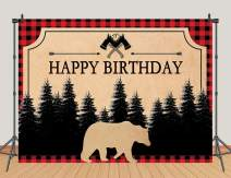 Wild One Lumberjack Happy Birthday Photography Backdrop Red and Black Buffalo Plaid Bear Pine Forest Photo Background Kids Birthday Party Decoration Cake Table Banner Photo Booth Props 7x5ft