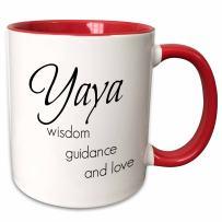 3dRose 253720_5 Yaya Wisdom, Guidance, Love Ceramic Mug, 11 oz, Red/White