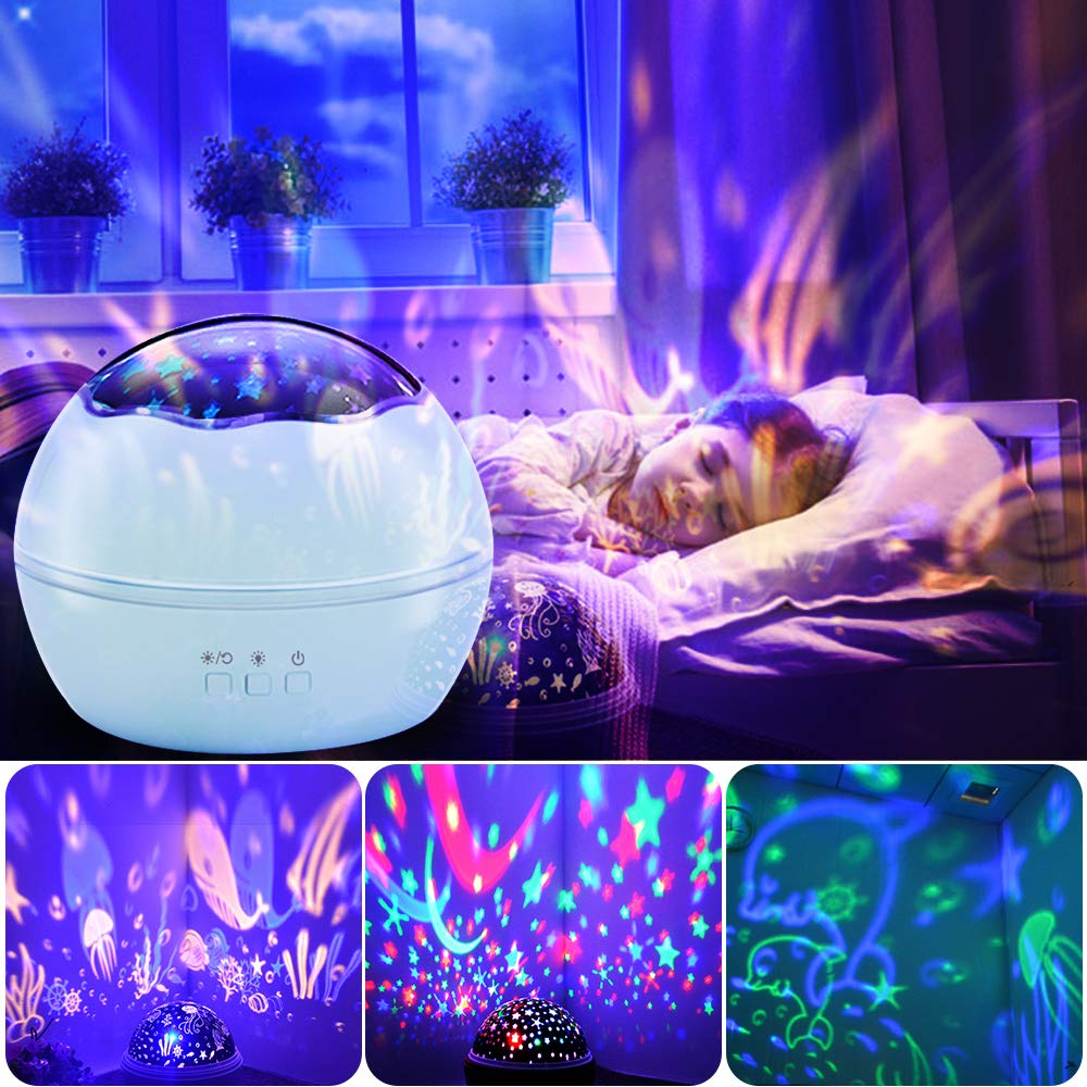 Alenbrathy Starry Night Light, Newest Star/Ocean, 360° Rotating Multiple Colors Ceiling Projector, Romantic Home Decoration Lamp for Kids Baby Bedrooms Nursery, Gifts for Kids Christmas Birthday.Blue