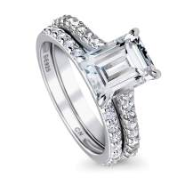 BERRICLE Rhodium Plated Sterling Silver Emerald Cut Cubic Zirconia CZ Solitaire Engagement Wedding Ring Set 3.18 CTW