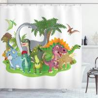 "Ambesonne Jurassic Shower Curtain, Cartoon Group Dinosaur Friendship Humor Colorful Happy Smile Creative Jurassic Fun, Cloth Fabric Bathroom Decor Set with Hooks, 75"" Long, Green Grey"
