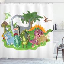 "Ambesonne Jurassic Shower Curtain, Cartoon Group Dinosaur Friendship Humor Colorful Happy Smile Creative Jurassic Fun, Cloth Fabric Bathroom Decor Set with Hooks, 70"" Long, Green Grey"