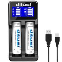 Dilusi P2 Battery Charger, Speedy Smart Recharger with LCD Display Universal for Rechargeable Batteries Ni-MH Ni-Cd A AA AAA AAAA C SC, Li-ion (2-Bay)