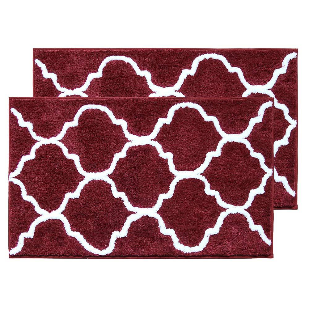 "HiiARug 2-Pack Bath Rug Non-Slip Soft Absorbent Machine Washable Bath Mats Floor Carpet Kitchen Rug and Runner (21""x34""2pcs, W Cherry Red)"