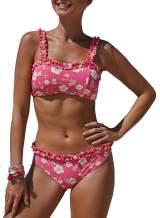 Bdcoco Women's Two Pieces Bandeau Swimsuits Wide Straps Floral Print Bathing Suits