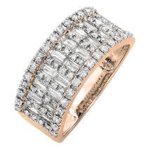 Dazzlingrock Collection 0.98 Carat (ctw) 14K Gold Round & Baguette Cut Diamond Ladies Anniversary Wedding Band 1 CT