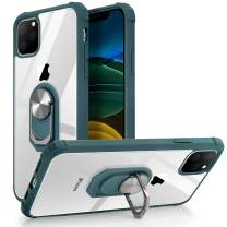 iPhone 11 Case,WATACHE Clear Hybrid Protective Shockproof [Military Grade Protection] Case with [Ring Holder Kickstand] for iPhone 11,Blackish Green