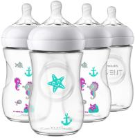 Philips Avent Natural Baby Bottle, Clear with Seahorse design, 9oz, 4pk, SCF659/47