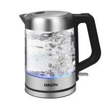 Dezin Electric Kettle, 1.5L Glass & Stainless Steel Finish Cordless Tea Kettle with One Touch Lid Open Button, Fast Heating, Auto Shut-Off and Boil Dry Protection Tech
