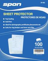 SPON Clear Sheet Protectors 8.5x11 inch Archival Safe 100 Count