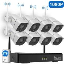 [Newest] 1080P Security Camera System Wireless, Firstrend 8CH Wireless Camera System with 8pcs 1080P HD Security Camera and 2TB Hard Drive Pre-Installed,P2P Wireless Security System Outdoor