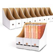 WECHARM Office Magazine File Holder Organizers - 12Pack Sturdy Cardboard Office Book Organizer,Desk Organizer File Folder,Folder Holder, Magazine Storage Box, Book Bins White……