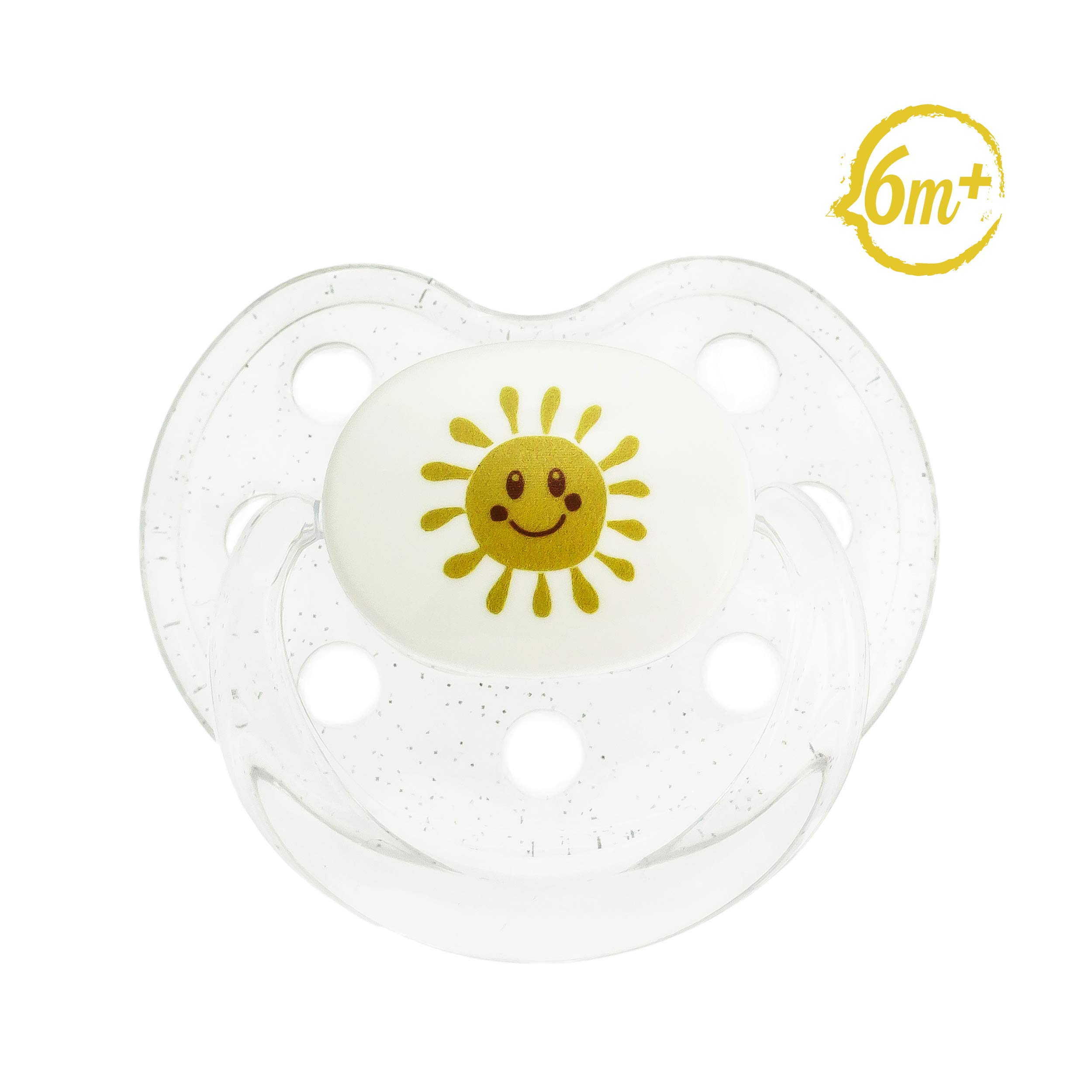 Le Biberon Baby Pacifier, 6-18 Months - Premium Soft Silicone Teat with Gum, Tongue and Palate Friendly Shape - Tritan Material - BPA Free - Sun Theme - Matches Le Biberon Baby Bottle Gift Sets