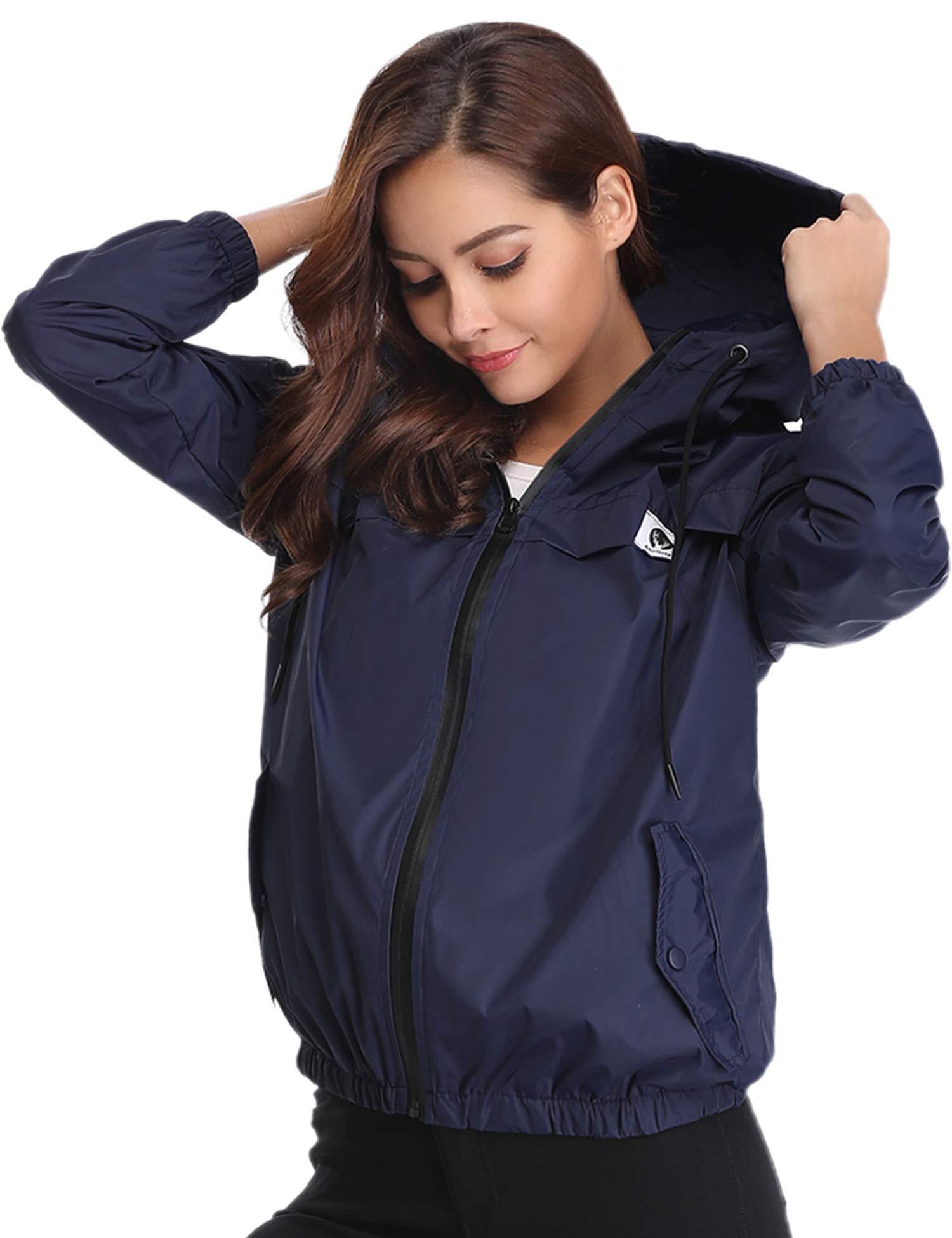 Aibrou Women Rain Jacket Lightweight Waterproof Coat Jacket Windbreaker with Hooded