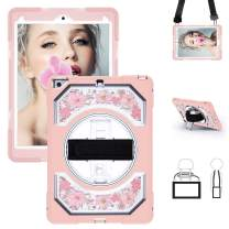 Miesherk iPad 9.7 Case, 360 Degree Rotatable Stand Heavy Duty Shockproof Full Body Protective Case with Hand Strap Shoulder Strap for iPad 6th/5th Generation Case, Pink Flowers
