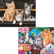 Ginfonr 5D DIY Diamond Painting Kit Piano Cats & Garden Kittens for Adults Full Drill by Number Kits, Pet Paint with Diamonds Art Kitten Puppy Animal Cross Stitch Craft Decor (12x16 inch, 2PACK)