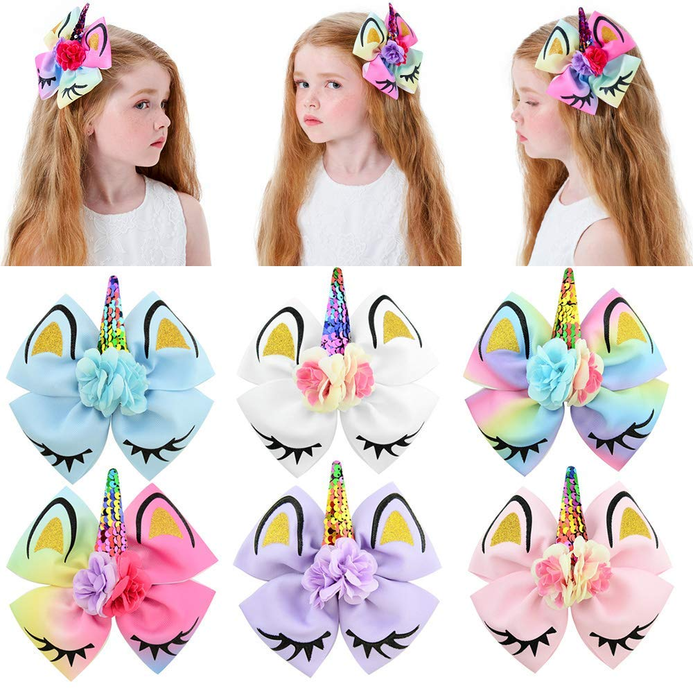 """6"""" Large Unicorn Hair Bow Clips Sequin Rainbow Barrettes Cheer Bows for Big School Girls Teens 6 Pcs by JIAHANG"""