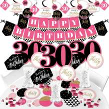 Big Dot of Happiness Chic 30th Birthday - Pink, Black and Gold - Birthday Party Supplies - Banner Decoration Kit - Fundle Bundle