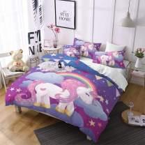 Jessy Home Unicorn Bedding 3 Pieces Queen Size Cartoon Duvet Cover Kids Girls Cute Unicorn Quilt Cover Animal Pattern Rainbow Unicorn Duvet Cover +2 Pillowcase,Purple
