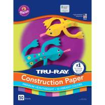 """Tru-Ray Heavyweight Construction Paper, Bright Assorted Colors, 12"""" x 18"""", 50 Sheets"""