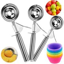 Ice Cream Scoop Set of 3, Cookie Scoop Set with Trigger, 18/8 Stainless Steel Heavy Duty Squeeze Muffin Scoops, Ice Cream Scooper/Melon Baller/Potato Mashers, Bonus Reusable Baking Cups (12 Pcs)