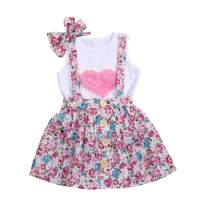 Toddler Baby Girls Dress Outfit Big Little Sister Matching 3D Heart Vest Short Set Ruffle Lace Dress Skirt Set with Headband